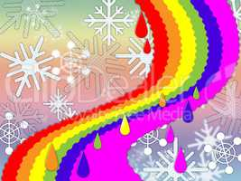Rainbow Background Means Snowing Winter And Promise.