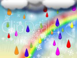 Rainbow Background Shows Colorful Rain And Snowing.