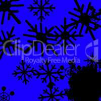 Blue Snowflakes Background Means Frozen Cold And Snowing.