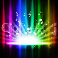 Rainbow Curtains Background Means Music Songs And Stage.