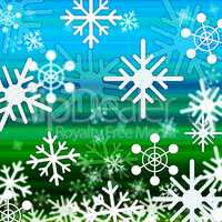 Landscape Snowflakes Background Shows Winter December And Cold.