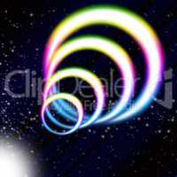 Rainbow Coil Background Means Colorful Rings And Starry Sky.
