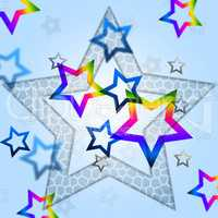 Blue Stars Background Means Heavenly Body And Shining.