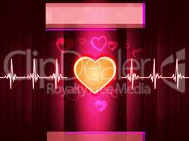 Red Heart Background Shows Life Beating And Pillar.