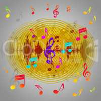 Yellow Music Background Shows Records Piece Or Melody.
