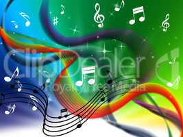 Waves Music Background Means Colorful Singing And DJ.