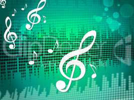 Treble Clef Background Means Sound Frequency Or Music Wave.