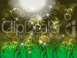 Glow Bubbles Means Light Burst And Backgrounds