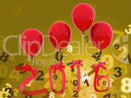Twenty Sixteen Indicates Happy New Year And Celebrations