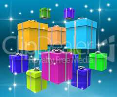 Celebration Giftboxes Indicates Fun Surprise And Surprises