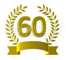 Anniversary Sixty Represents Happy Birthday And 60