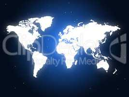 Blue World Represents Globally Design And Globalize