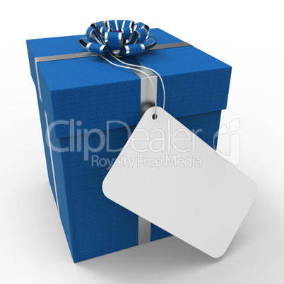 Gift Tag Indicates Empty Space And Blue