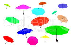 Clamped umbrellas flying through the air