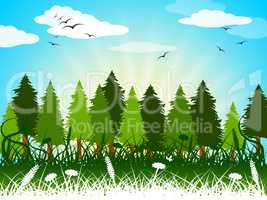 Background Landscape Shows Summer Time And Backgrounds