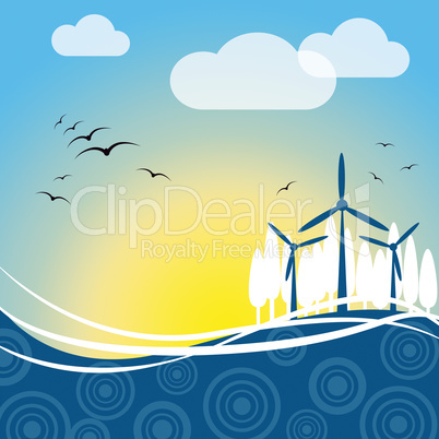 Wind Power Represents Turbine Energy And Electric