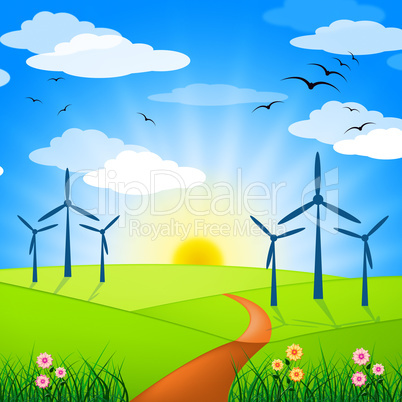 Wind Power Represents Turbine Energy And Electricity