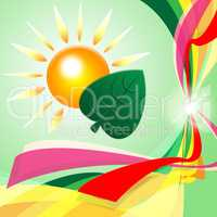 Eco Sun Indicates Earth Day And Eco-Friendly