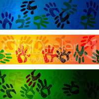 Hands Handprints Indicates Design Drawing And Abstract
