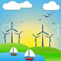 Wind Power Means Turbine Energy And Electric