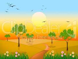 Sun Countryside Shows Green Grass And Environment
