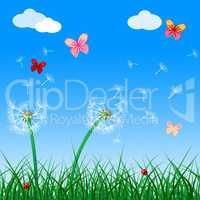 Copyspace Butterflies Indicates Flora Flower And Blank