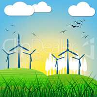 Wind Power Shows Renewable Resource And Environmental