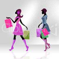 Shopper Women Means Commercial Activity And Adults