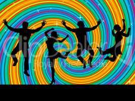 Jumping Joy Indicates Activity Wave And Swirl
