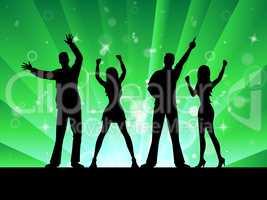 Silhouette Disco Represents Music Profile And Outline