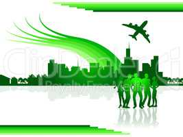 Flights City Shows Airline Air And Cityscape
