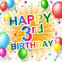 Birthday Third Indicates Happiness Congratulating And Celebration