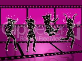 Filmstrip Disco Means Discotheque Photography And Photographic