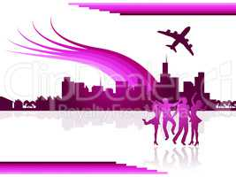 Flights City Shows Buildings Transport And Travel