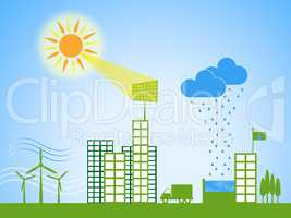 Solar Power Represents City Cityscape And Downtown