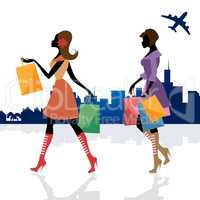 Women Shopping Means Commercial Activity And Adult