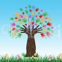 Handprints Tree Shows Hands Together And Artwork