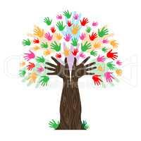 Handprints Tree Means Hands Together And Artwork