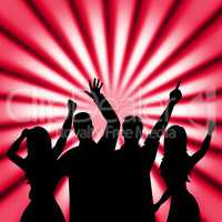 Dancing Disco Shows Cheerful Discotheque And Music
