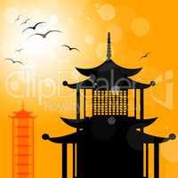 Pagoda Silhouette Indicates Religion Asia And Oriental