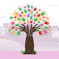 Hands Tree Shows Nature Expand And Development
