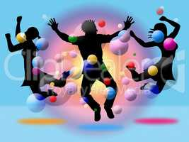 Excitement Jumping Indicates Disco Dancing And Activity