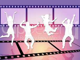 Disco Dancing Shows Camera Film And Celluloid