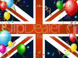 Union Jack Represents English Flag And Balloon