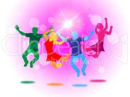 Glow Fun Indicates Light Burst And Jump