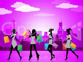 City Shopping Indicates Commercial Activity And Buying