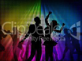 Party Disco Shows Celebrate Discotheque And Cheerful