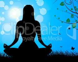 Yoga Pose Shows Meditate Calm And Harmony