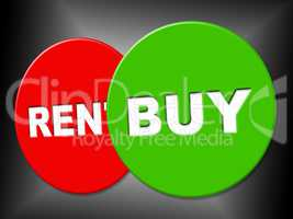 Buy Sign Shows Bought Message And Purchasing