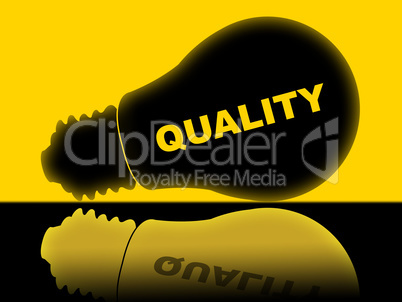 Quality Lightbulb Indicates Check Approved And Certified